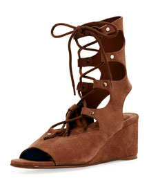 Suede Gladiator Wedge Sandal, Coffee Brown