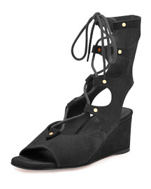 Suede Gladiator Demi-Wedge Sandal, Black