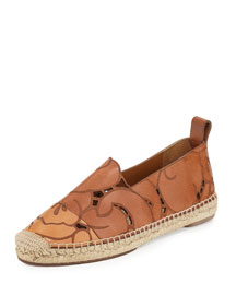 Laser-Cut Leather Espadrille Flat, Brown