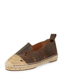 Laser-Cut Leather Espadrille Flat, Khaki