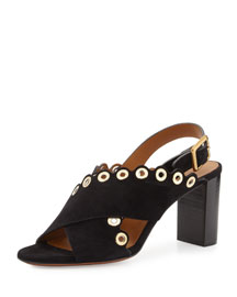 Eyelet-Studded Leather Sandal, Black