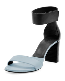 Bicolor Leather Gala Sandal, Blue/Black