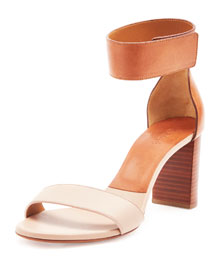 Bicolor Leather Gala Sandal, Pink Tea
