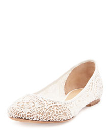 Scalloped Lace Ballerina Flat, White