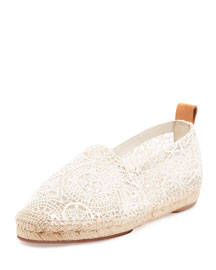 Scalloped Lace Espadrille Flat, White