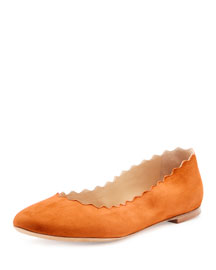 Scalloped Suede Ballerina Flat, Indian Summer