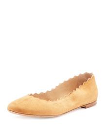 Scalloped Suede Ballerina Flat, Angora Beige