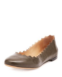 Scalloped Leather Ballerina Flat, Dark Khaki