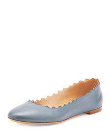 Scalloped Leather Ballerina Flat, Blue Jeans