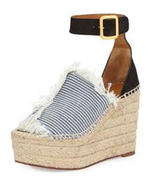 Frayed Denim Espadrille Wedge Sandal