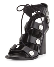 Ilse Lace-Up Stud Sandal, Black