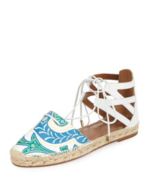 Belgravia Printed Leather Flat Espadrille, Multi