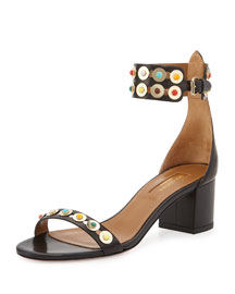 Byzantine Studded City Sandal, Black