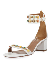 Byzantine Studded City Sandal, White/Multi