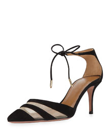 Graphic Suede & Mesh Ankle-Tie Pump, Black