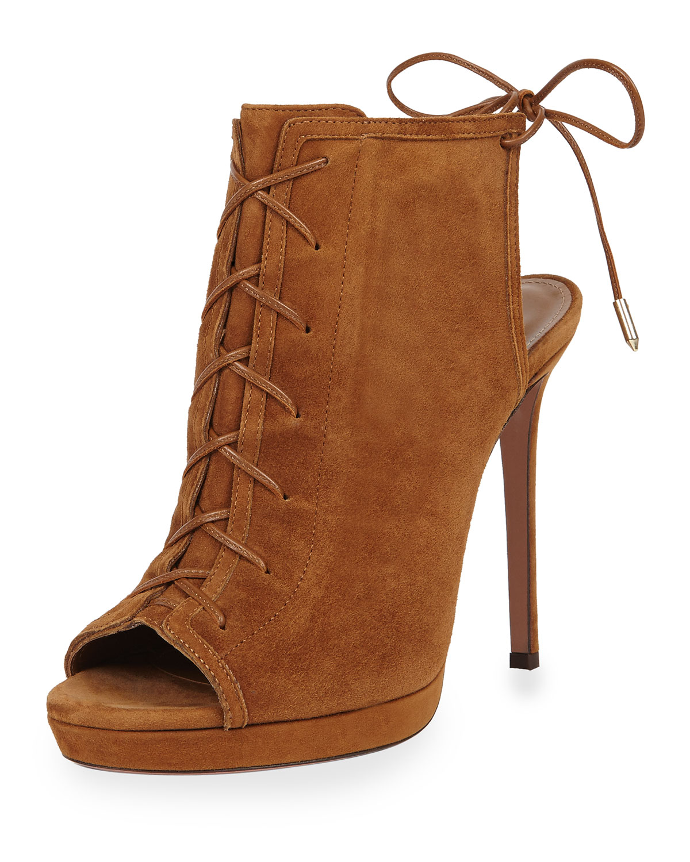 Aquazzura Hana Suede Lace-Front Open-Toe Bootie, Cognac (Red), Women's, Size: 38.5B/8.5B