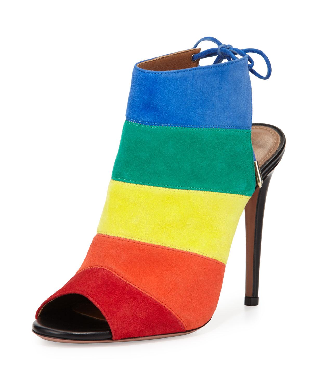 Aquazzura Rainbow Striped Suede Sandal, Multi, Size: 40.0B/10.0B