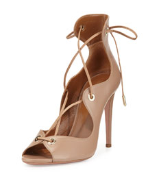 Tango Leather Lace-Up Sandal, Biscotto