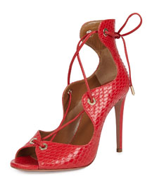 Tango Curvy Snake Lace-Up Sandal, Red