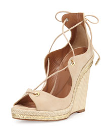 Tango Curvy Lace-Up Wedge Sandal, Nude