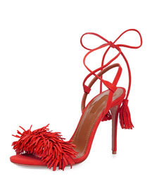Wild Thing Suede Fringe Sandal, Lipstick