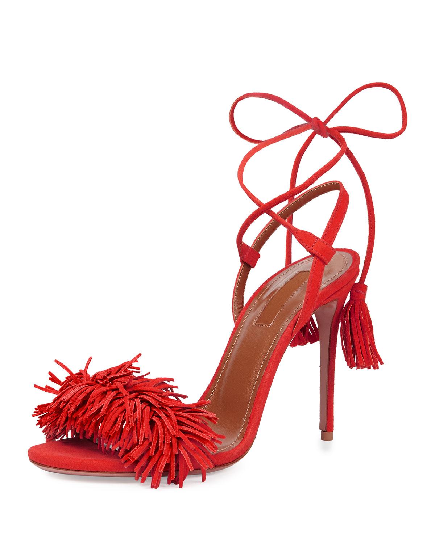 Aquazzura Wild Thing Suede Fringe Sandal, Lipstick, Size: 36.5B/6.5B