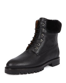 The Heilbrunner Mink-Trimmed Boot, Black