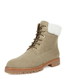 The Heilbrunner Shearling-Trimmed Boot, Khaki