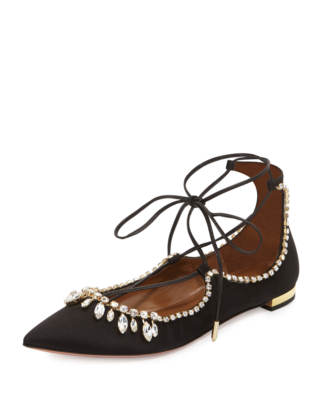 Aquazzura Christy Jeweled Lace-Up Flat, Black, Size: 40.5B/10.5B