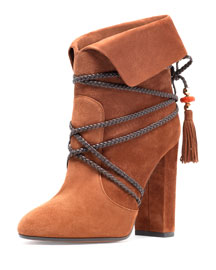 Moonshine Strappy Suede Bootie, Luggage