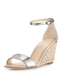 Metallic Python Espadrille Wedge Sandal, Silver