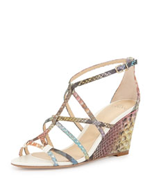 Multicolor Python Wedge Sandal, Acquarelle/Ivory