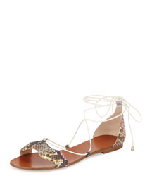 Multicolor Python Lace-Up Flat Sandal