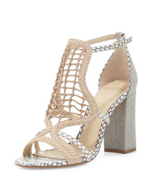 Woven Leather Block-Heel Sandal, Nude/Natural