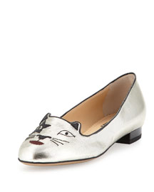 Kiss Kitty Unplugged Metallic Loafer, Silver