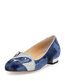 The King Kitty Unplugged Velvet Loafer, Dark Blue