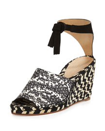 Embossed Espadrille Wedge Sandal, Black