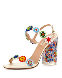 Medallion Beaded Block-Heel Sandal, Light Ivory/Multi