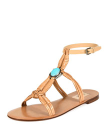 Woven Leather Flat Sandal, Natural
