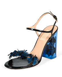 Patent Butterfly-Illusion Heel Sandal, Multi