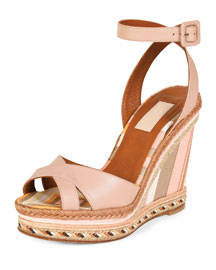 1975 Striped Espadrille Wedge Sandal, Multi