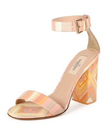 1975 Striped Leather Ankle-Wrap Sandal, Multi