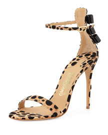 Angie Spotted Cork d'Orsay Sandal, Natural/Black