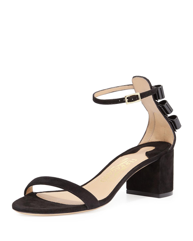 Edgardo Osorio for Ferragamo Connie Suede Block-Heel Sandal, Black, Women's, Size: 37.5B/7.5B, Nero
