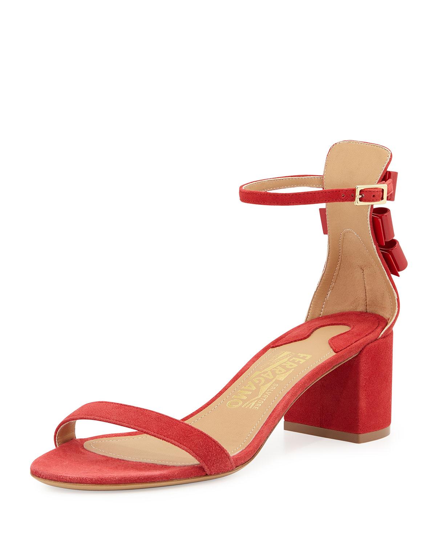Edgardo Osorio for Ferragamo Connie Suede Block-Heel Sandal, Red, Women's, Size: 37.5B/7.5B, Rosso