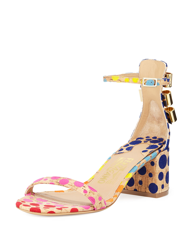 Edgardo Osorio for Ferragamo Connie Spotted Cork Sandal, Multi, Men's, Size: 37.5B/7.5B, Multi Color