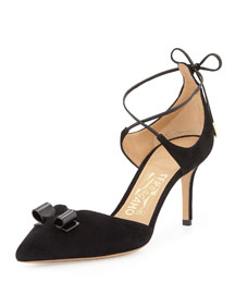 Carolyn Suede Ankle-Wrap Pump, Black