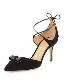 Carolyn Suede Ankle-Wrap Pump, Black
