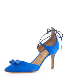Carolyn Suede Ankle-Wrap Pump, Bluette
