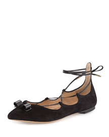 Claire Suede Lace-Up Flat, Black